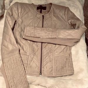BCBG MAXAZRIA XS tan faux leather jacket